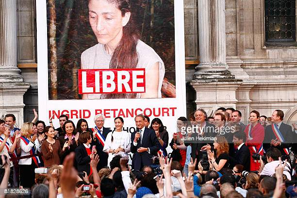 Freed hostage Ingrid Betancourt is greeted by the Mayor of Paris Bertrand Delanoe as she arrives at the Hotel de Ville on July 4, 2008 in Paris,...