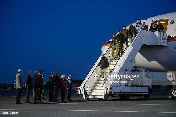 Freed OSCE observers amogst them Axel Schneider arrive by plane awaited by Danish Defense Minister Nicolai Wammen Czech Defense Minister Martin...
