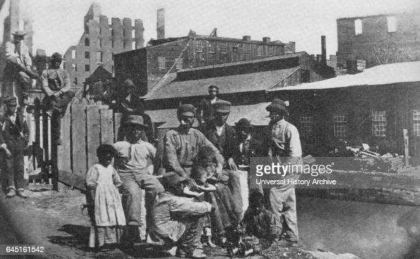 Freed slaves on the canal bank at Richmond Virginia 1865