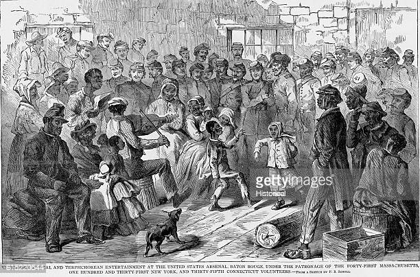 Freed slaves stage music and dancing to entertain Union troops with the 41st Massachusetts 131st New York and 35th Connecticut in Baton Rouge...