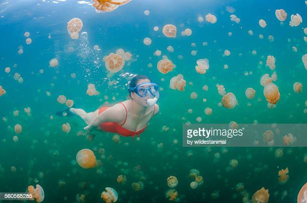 Freediver and jellyfish