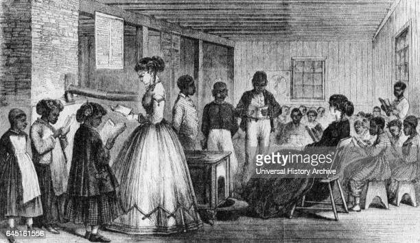 A freedmen's Bureau school in Richmond in 1866 Southern foes of Reconstruction burned many of these schools