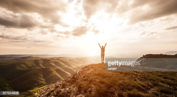 freedom and adventure in nature - wellness stock pictures, royalty-free photos & images