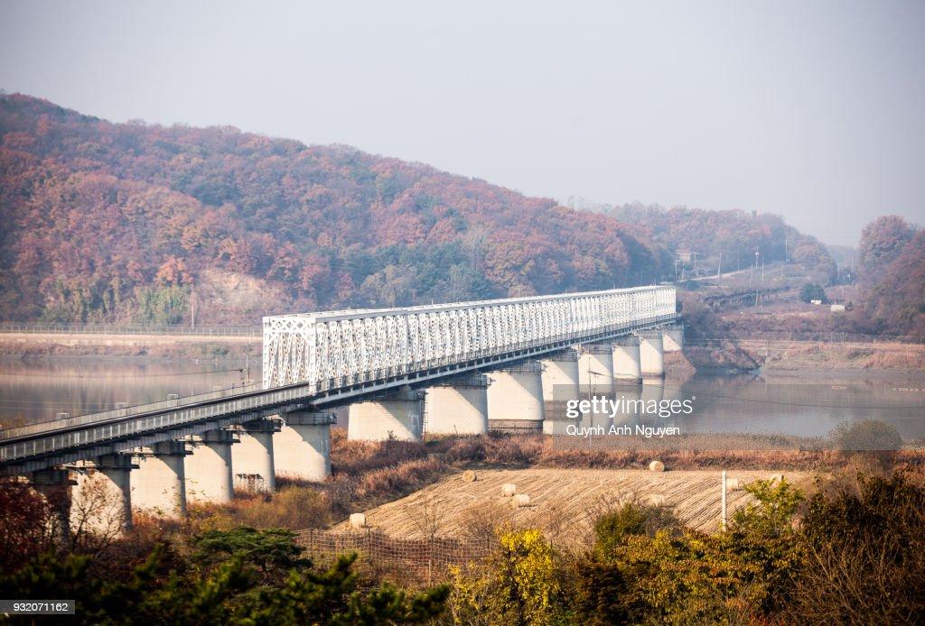 Freedom Bridge on The Border Of South and North Korea : Stock Photo