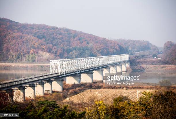 freedom bridge on the border of south and north korea - demilitarized zone stock pictures, royalty-free photos & images