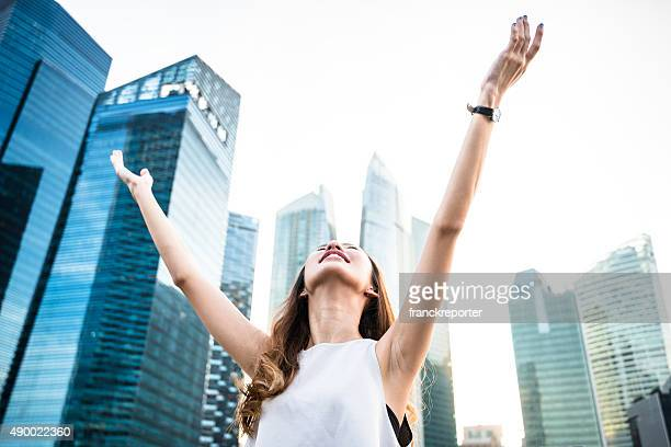freedom business woman on the city of singapore