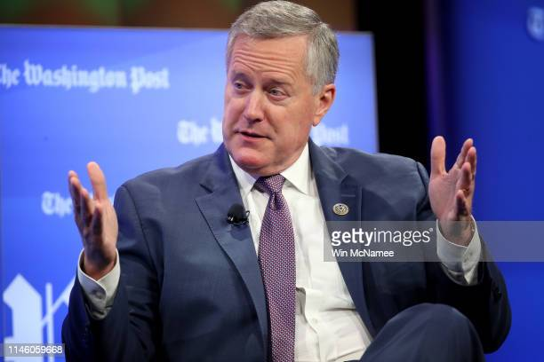 Freedom caucus chairman Rep Mark Meadows answers questions from Washington Post reporter Robert Costa April 30 2019 in Washington DC Meadows appeared...