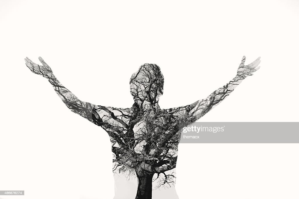 Freedom - Double exposure man with tree in the portrait : Stock Photo