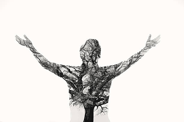 Freedom - Double Exposure Man With Tree In The Portrait Wall Art
