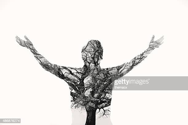 Freedom - Double exposure man with tree in the portrait