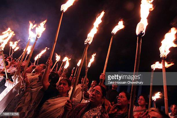Freedom fighter of bangladesh made candlelight vigil in memory of martyrs 25 March of 1971 in front of shohid minar at dhaka,bangladesh