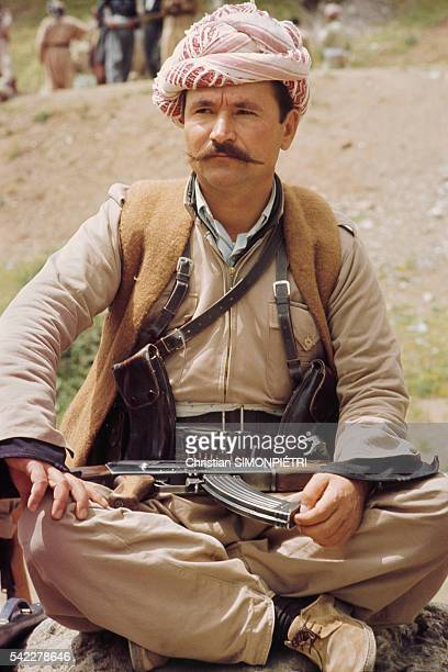 Freedom fighters camping at Khree Neozang home to the Patriotic Union of Kurdistan guerrillas in Iraq headed by Kurd leader Jalal Talabani | Location...