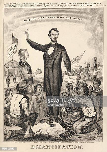 Freedom for All Both Black and White' honoring Abraham Lincoln's Emancipation Proclamation freeing American slaves lithograph 1865
