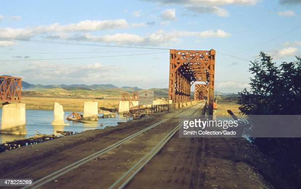 Freedom Gate railroad bridge crossing the Imjin river from South Korea into the Demilitarized Zone during the Korean War 1952