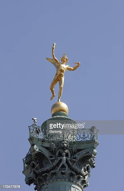 Freedom Genius statue by Auguste Dumont on the July column at the place de la Bastille Paris France