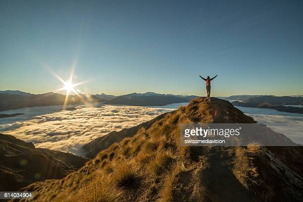 freedom in nature - mountain peak stock pictures, royalty-free photos & images