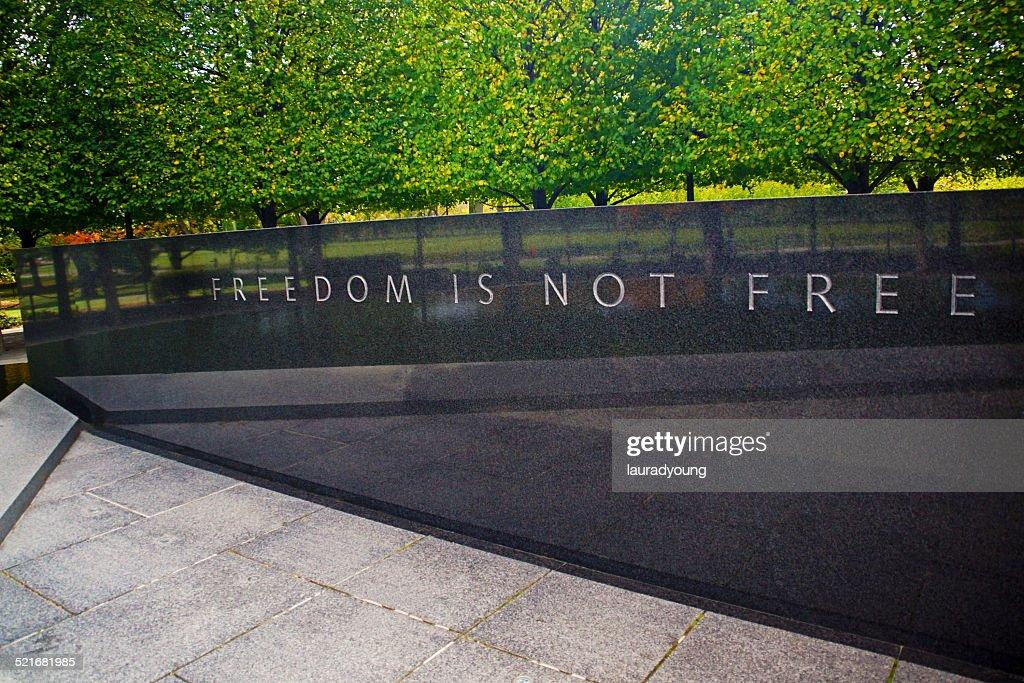 Freedom is Not Free Panel Korean War Memorial : Stock Photo