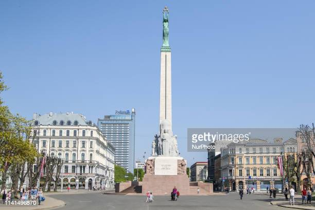 Freedom Monument honouring soldiers killed during the Latvian War of Independence is seen in Riga Latvia on 28 April 2019