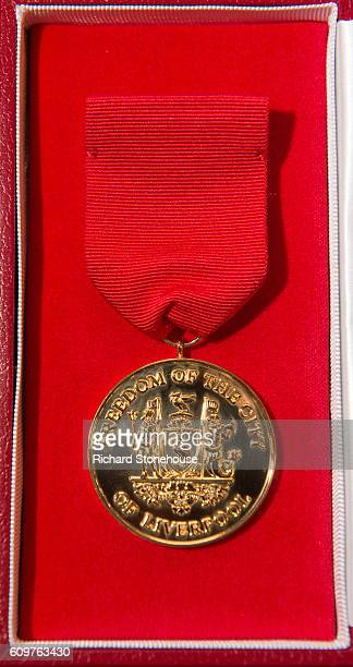Freedom of the City of Liverpool medal is seen as the 96 victims of the Hillsborough disaster are honoured with the Freedom of the City of Liverpool...