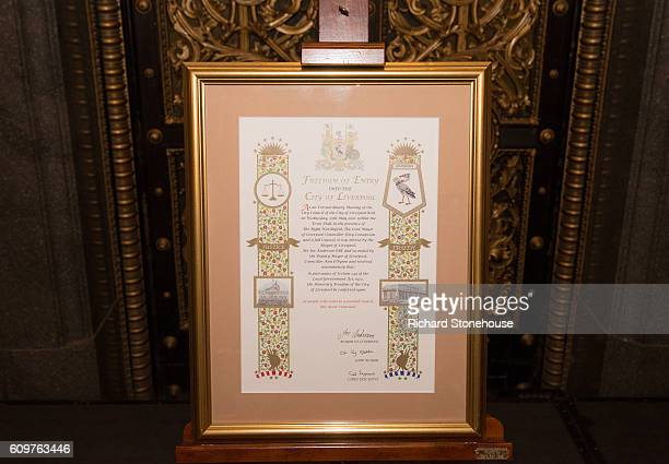 Freedom of the City of Liverpool scroll is presented to the families of the victims of the Hillsborough disater during a ceremony at St George's Hall...