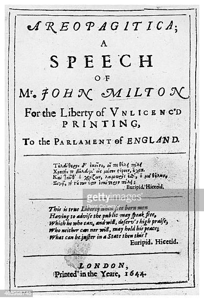 title page from the Areopagitica by John Milton 1644 The Areopagitica was a speech delivered by Milton in the House of Commons in favour of the...