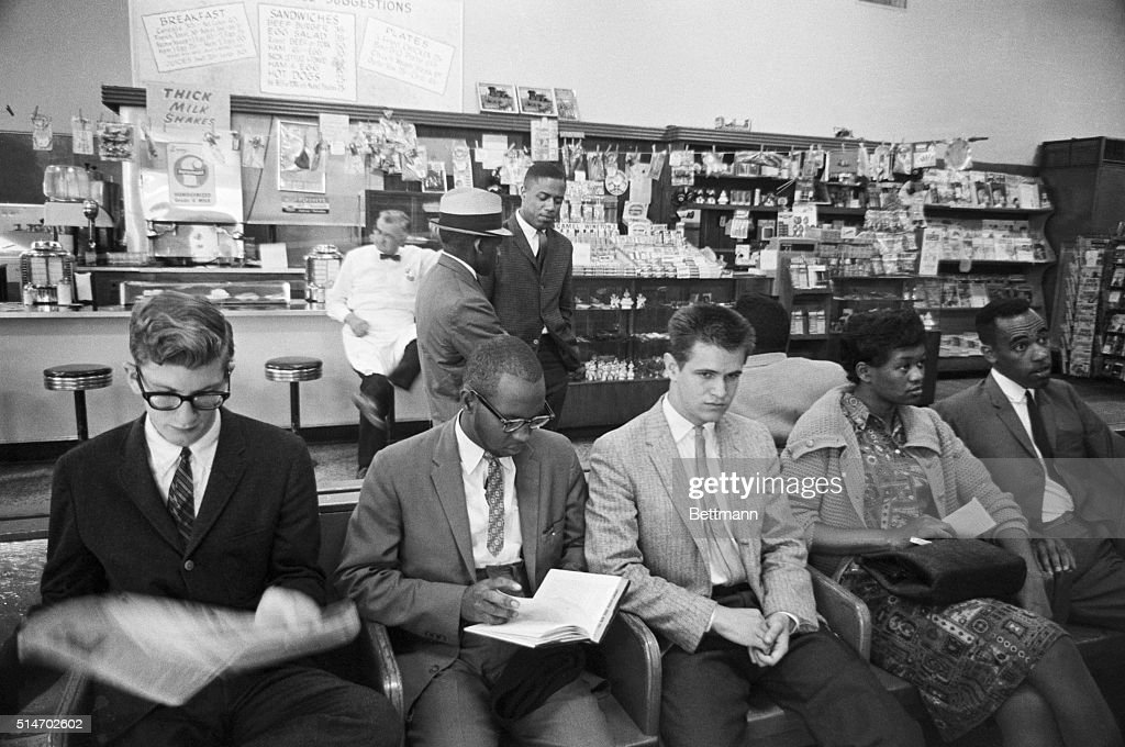 Freedom Riders Staging Sit-In at Bus Terminal : News Photo