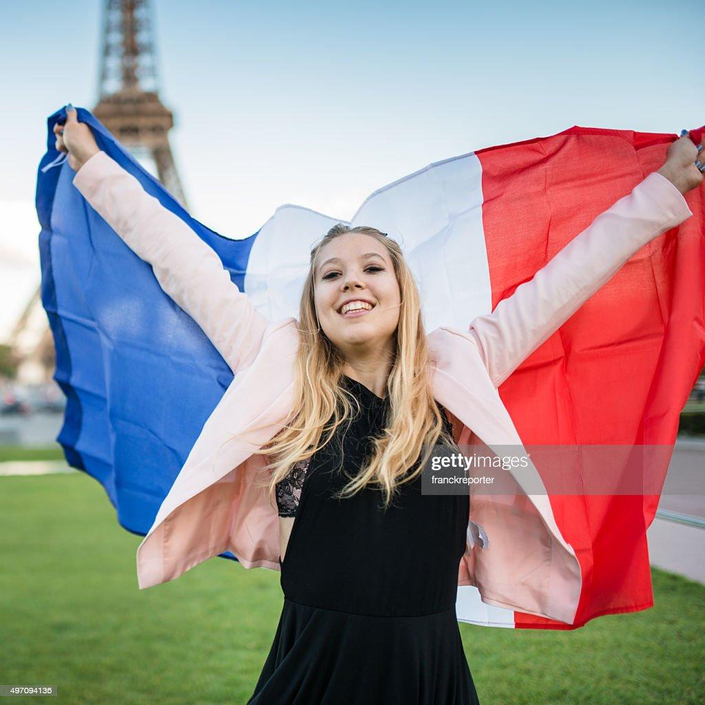 freedom tourist in paris against the tour Eiffel : Stock Photo