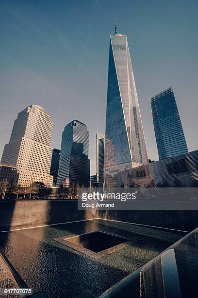 freedom tower and 9/11 memorial plaza, new york, u - freedom plaza stock pictures, royalty-free photos & images