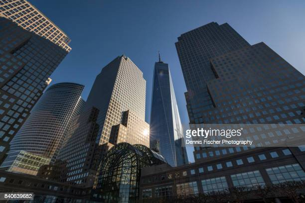 freedom tower and brookfield place in downtown manhattan - world financial center new york city stock pictures, royalty-free photos & images