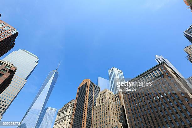 Freedom Tower in Rows of buildings at downtown.