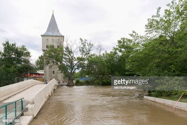 freedom tower to kirkpinar using old stone bridge in edirne turkey - edirne stock pictures, royalty-free photos & images