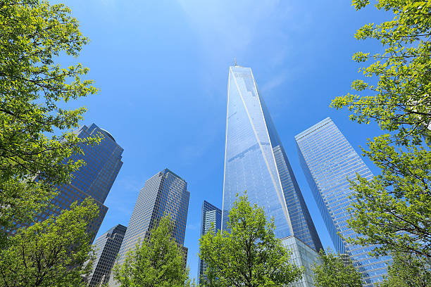 Freedom Tower Which Is Surrounded  By Fresh Green. Wall Art