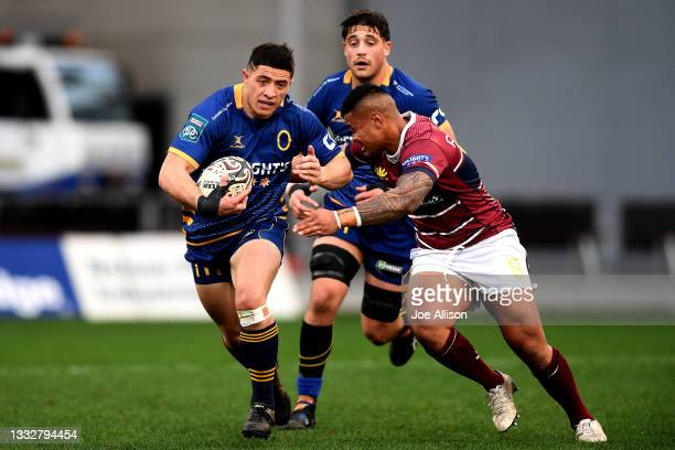 Freedom Vahaakolo of Otago attempts to evade the defence during the round one Bunnings NPC match between Otago and Southland at Forsyth Barr Stadium,...