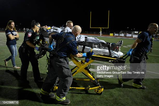 Freedom's Colby Hunter is transported off the field after sustaining an injury while playing against Antioch in the fourth quarter of their game at...