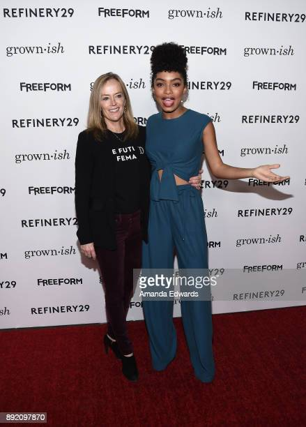 Freeform Executive Vice President of Programming and Development Karey Burke and actress Yara Shahidi arrive at the premiere of ABC's 'Grownish' on...