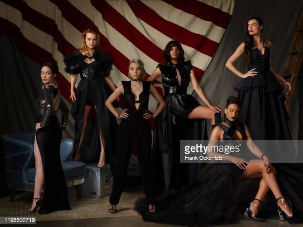 "Freeform's ""Motherland: Fort Salem"" stars Amalia Holm as Scylla, Jessica Sutton as Tally Craven, Taylor Hickson as Raelle Collar, Ashley Nicole..."