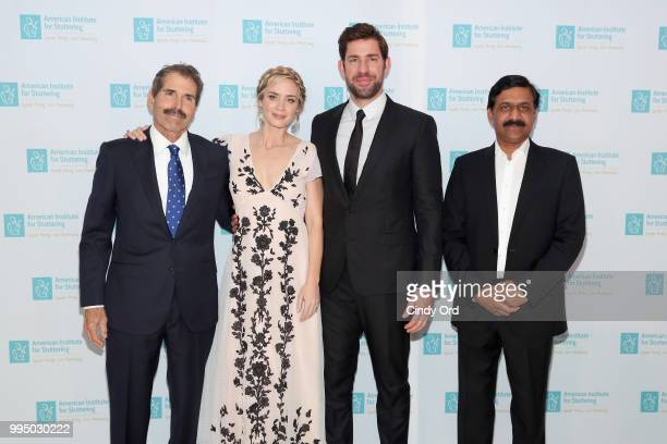 Freeing Voices Changing Lives Award recipient John Stossel actor and AIS Gala host Emily Blunt actor John Krasinski and Freeing Voices Changing Lives...