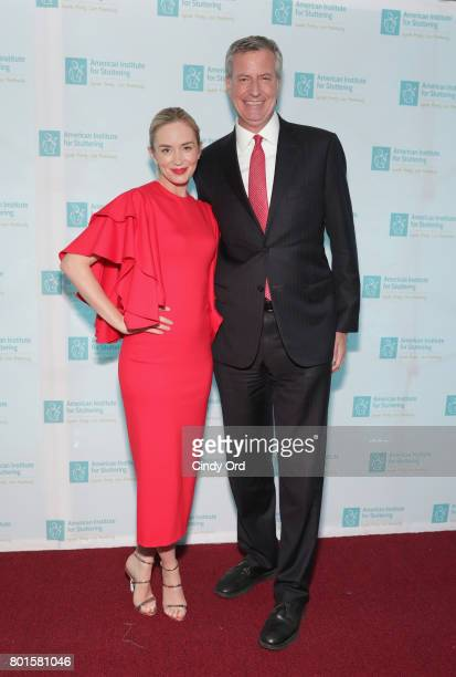 Freeing Voices Changing Lives Benefit Gala Host Emily Blunt and New York City Mayor Bill de Blasio attend the American Institute for Stuttering 11th...