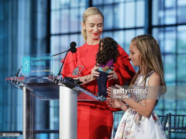 Freeing Voices Changing Lives Gala Host Emily Blunt speaks onstage about the 2017 Catherine Montgomery Advocacy Honoree The Gabriela American Girl...