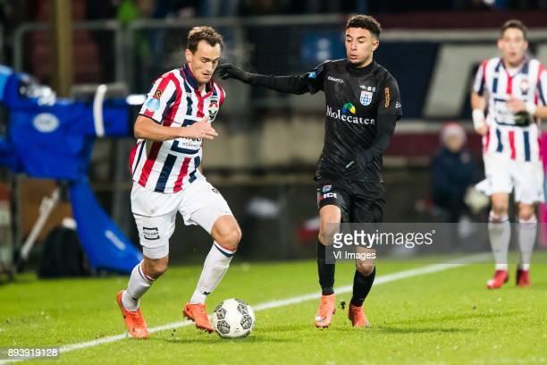 Freek Heerkens of Willem II Younes Namli of PEC Zwolle during the Dutch Eredivisie match between Willem II Tilburg and PEC Zwolle at Koning Willem II...