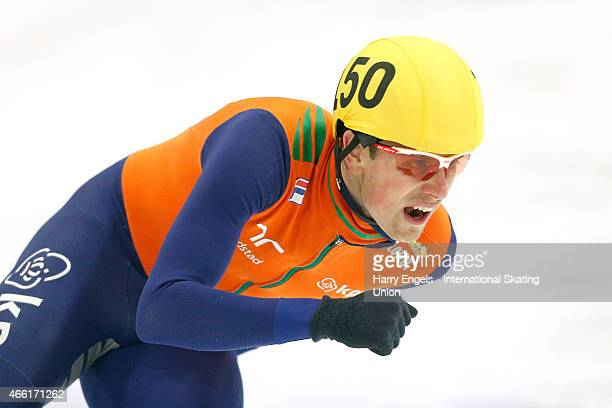 Freek van der Wart of the Netherlands in action during the Men's 500m RRHeats on day two of the ISU World Short Track Speed Skating Championships at...