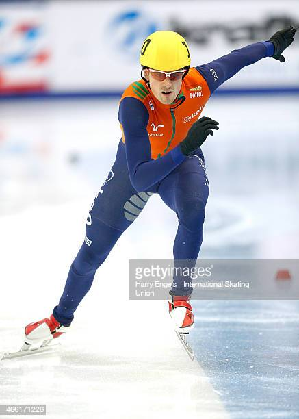 Freek van der Wart of the Netherlands sprints off from the start during the Men's 500m RRHeats on day two of the ISU World Short Track Speed Skating...
