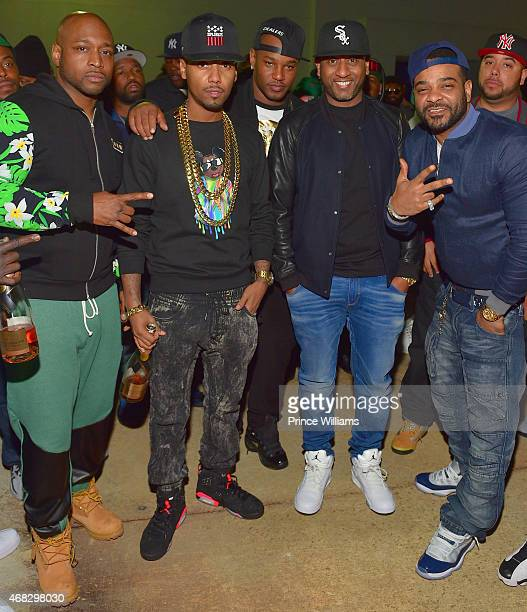 Freekey Zekey, Juelz Santana, Cam'ron, Alex Gidewon and Jim Jones of the group 'The Diplomats' attend the Dipset Official reunion at Compound on...