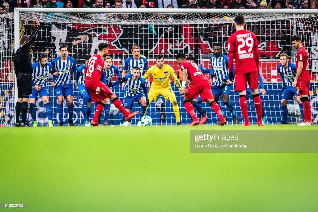 Free-kick of Leverkusen during the Bundesliga match between Bayer 04 Leverkusen and Hertha BSC at BayArena on February 10, 2018 in Leverkusen, Germany.