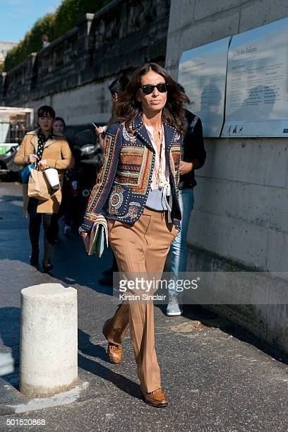 Freelance Fashion stylist and Editor Viviana Volpicella on day 8 during Paris Fashion Week Spring/Summer 2016/17 on October 6 2015 in Paris France...