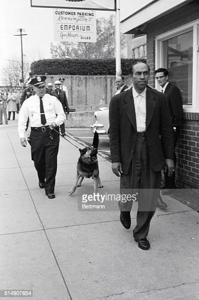 Freelance photographer Thomas Armstrong followed by a police officer and a snarling German Shepherd police dog walks away from the courthouse where...
