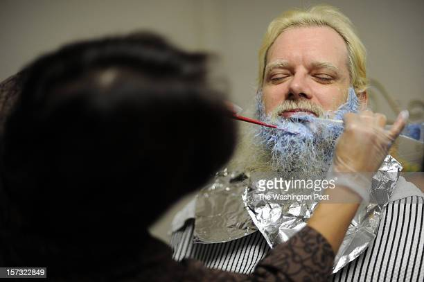 Freelance Santa Claus John Parks does not wear a wig or a fake beard With the help of befriended hair stylist Flor Ruiz Parks colors his black hair...