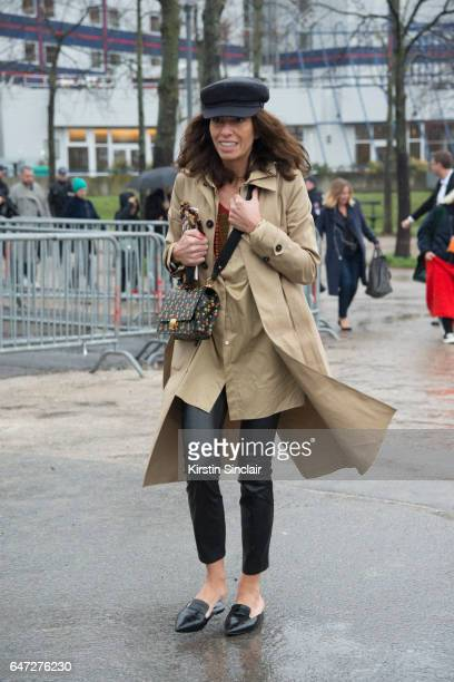 Freelance Stylist Fashion Editor Viviana Volpicella waers a Balnciage trench coat on day 2 during Paris Fashion Week Autumn/Winter 2017/18 on March 1...