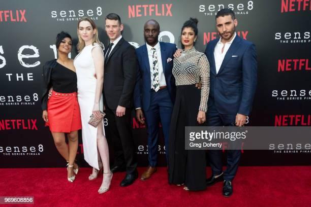 "Freema Agyema, Jamie Clayton, Brian J. Smith, Toby Onwumere, Tina Desai and Miguel Ángel Silvestre attend Netflix's ""Sense8"" Series Finale Fan..."
