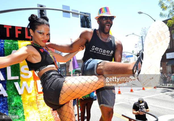 Freema Agyeman and Toby Onwumere are seen on the Netflix original series Sense8 float at the Los Angeles Pride Parade on June 10 2018 in West...